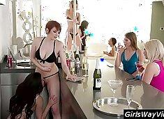 Crazy hot lesbian bartender have sex at work