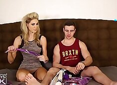 VERY POPULAR HORSE COCK JOCK LET'S HOT BLONDE TRY ANAL TOYS ON HIM