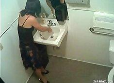 Hidden cam in toilet filming officegirl pissin