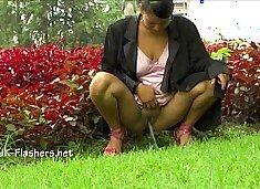 Amateur latina Beatriz public nudity and squirting masturbation of chubby flash