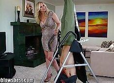 MommyBB Busty MILF Julia Ann is sucking my tied up boyfriend!