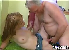 Hot young babe screwed by old lad