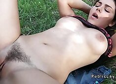 Busty and hairy Italian student fucks in the park pov