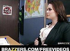 HOT teacher Tessa Lane lets her student motorboat her tits