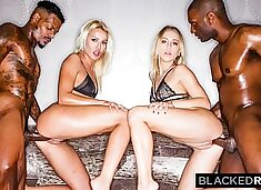 BLACKEDRAW Two Blondes Fuck Two Dominant BBCs After A Night At The Club