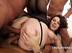 Big butt slut Sofya Curly in balls deep dp and double anal 5 on 1 gangbang