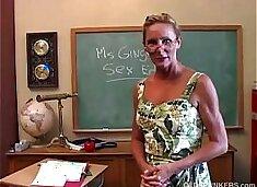 Horny mature teacher fucks her pussy and sucks cock